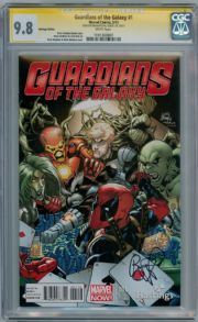 Guardians Of The Galaxy #1 Hastings Deadpool Variant CGC 9.8 Signature Series Signed Bendis Marvel